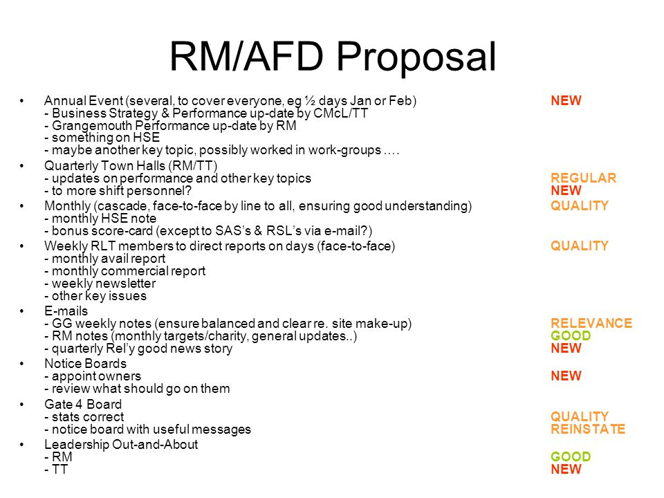 RM/AFD Proposal Annual Event (several, to cover everyone, eg ½ days Jan or Feb)NEW - Business Strategy & Performance up-date by CMcL/TT - Grangemouth