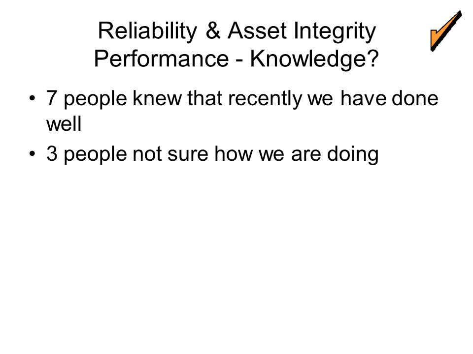 Reliability & Asset Integrity Performance - Knowledge.