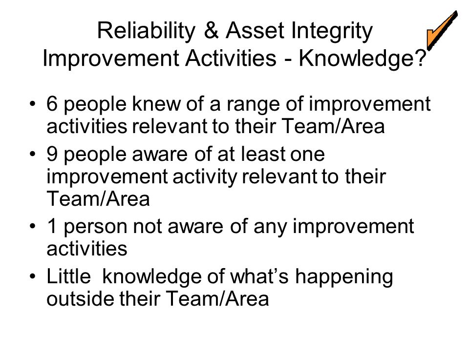 Reliability & Asset Integrity Improvement Activities - Knowledge.