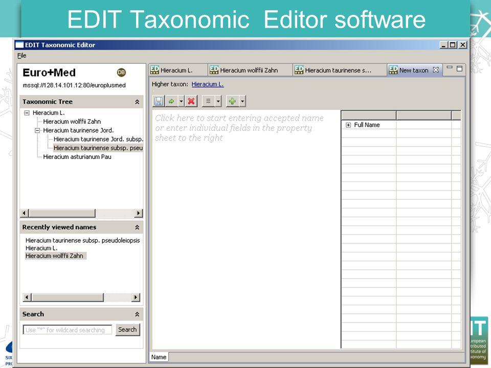 EDIT General Meeting Carvoeiro, 23-25 January 2008 EDIT Taxonomic Editor software