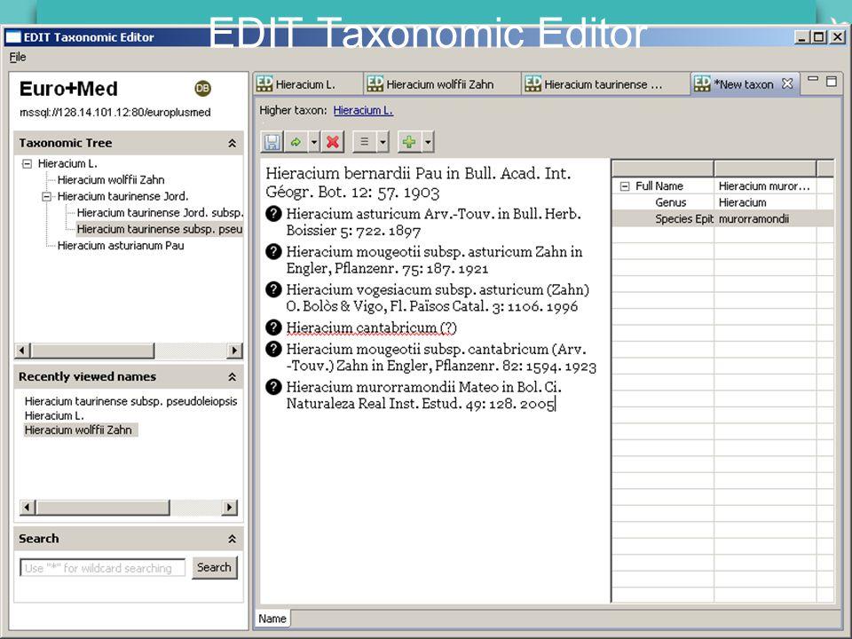 EDIT General Meeting Carvoeiro, 23-25 January 2008 EDIT Taxonomic Editor