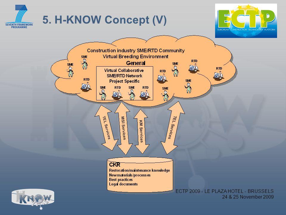 5. H-KNOW Concept (V) ECTP 2009 - LE PLAZA HOTEL - BRUSSELS 24 & 25 November 2009