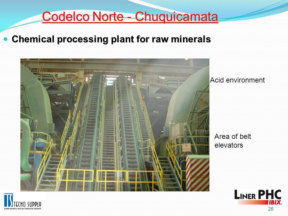 26 Codelco Norte - Chuquicamata Chemical processing plant for raw minerals Chemical processing plant for raw minerals Area of belt elevators Acid environment