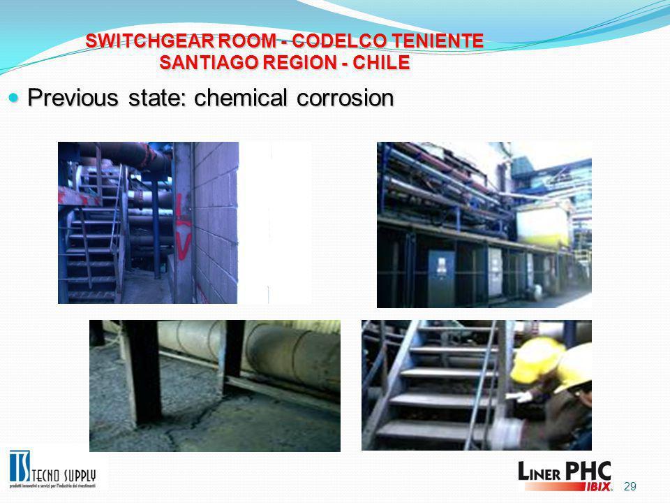 29 SWITCHGEAR ROOM - CODELCO TENIENTE SANTIAGO REGION - CHILE Previous state: chemical corrosion Previous state: chemical corrosion