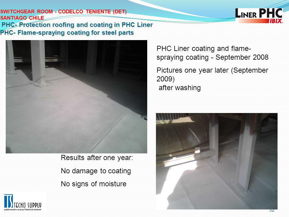 32 SWITCHGEAR ROOM - CODELCO TENIENTE (DET) SANTIAGO CHILE PHC- Protection roofing and coating in PHC Liner PHC- Flame-spraying coating for steel parts Results after one year: No damage to coating No signs of moisture PHC Liner coating and flame- spraying coating - September 2008 Pictures one year later (September 2009) after washing