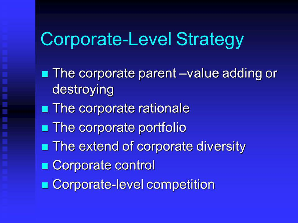 Corporate-Level Strategy The corporate parent –value adding or destroying The corporate parent –value adding or destroying The corporate rationale The corporate rationale The corporate portfolio The corporate portfolio The extend of corporate diversity The extend of corporate diversity Corporate control Corporate control Corporate-level competition Corporate-level competition
