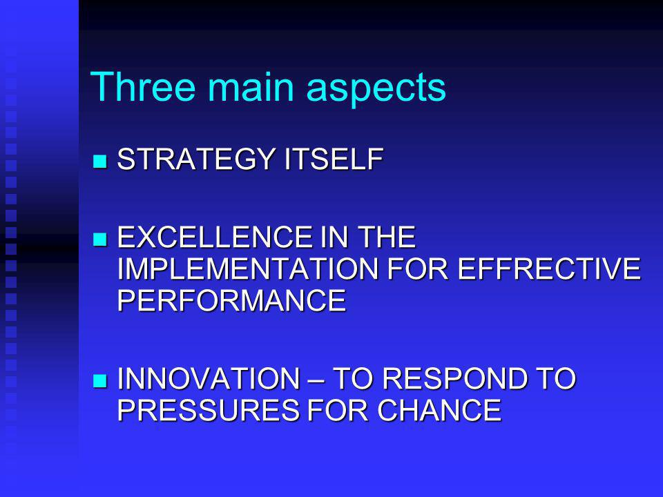 Three main aspects STRATEGY ITSELF STRATEGY ITSELF EXCELLENCE IN THE IMPLEMENTATION FOR EFFRECTIVE PERFORMANCE EXCELLENCE IN THE IMPLEMENTATION FOR EFFRECTIVE PERFORMANCE INNOVATION – TO RESPOND TO PRESSURES FOR CHANCE INNOVATION – TO RESPOND TO PRESSURES FOR CHANCE