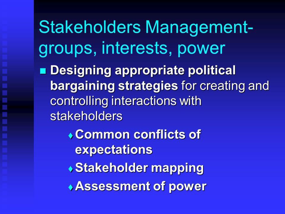 Stakeholders Management- groups, interests, power Designing appropriate political bargaining strategies for creating and controlling interactions with stakeholders Designing appropriate political bargaining strategies for creating and controlling interactions with stakeholders  Common conflicts of expectations  Stakeholder mapping  Assessment of power