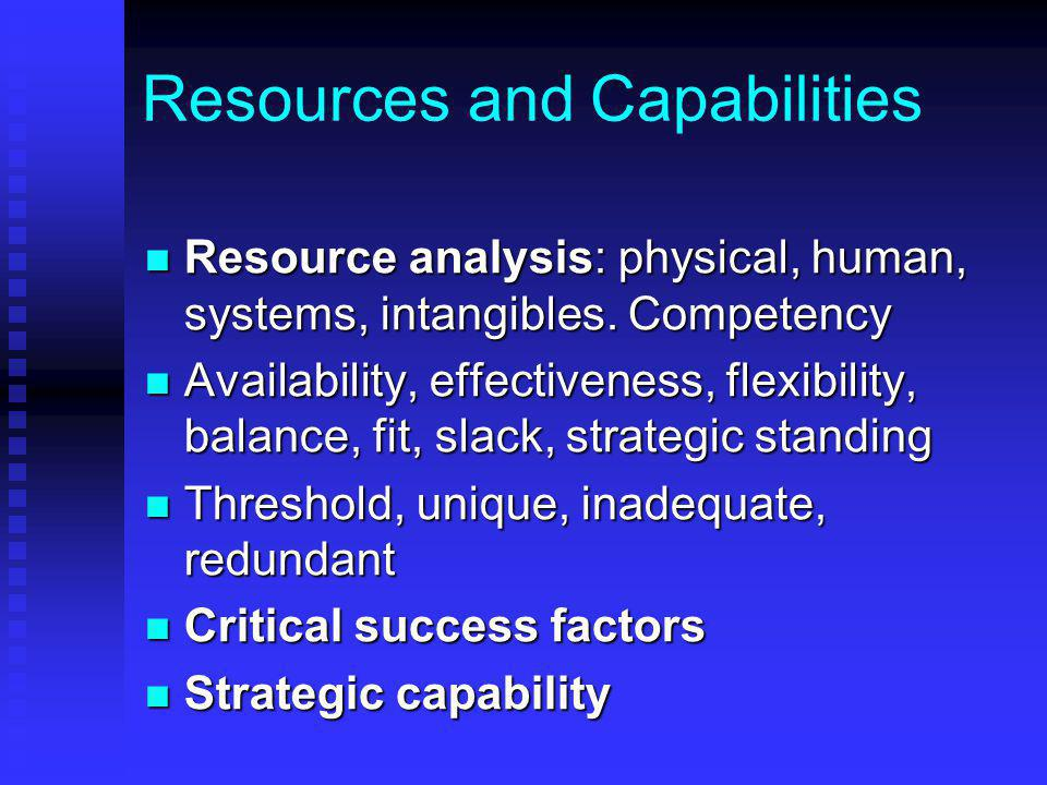 Resources and Capabilities Resource analysis: physical, human, systems, intangibles.