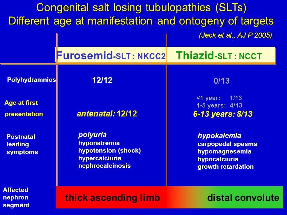 Congenital salt losing tubulopathies (SLTs) Different age at manifestation and ontogeny of targets (Jeck et al., AJ P 2005) (Jeck et al., AJ P 2005) Thiazid - SLT : NCCT Furosemid -SLT : NKCC2 Polyhydramnios 12/12 0/13 Postnatal leading symptoms polyuria hyponatremia hypotension (shock) hypercalciuria nephrocalcinosis hypokalemia carpopedal spasms hypomagnesemia hypocalciuria growth retardation Age at first presentation antenatal: 12/12 <1 year: 1/13 1-5 years: 4/13 6-13 years: 8/13 thick ascending limbdistal convolute Affected nephron segment