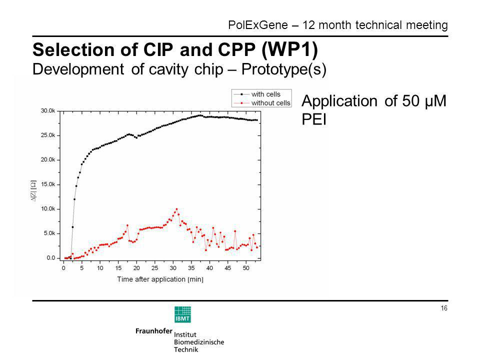 16 PolExGene – 12 month technical meeting Selection of CIP and CPP (WP1) Development of cavity chip – Prototype(s) Application of 50 µM PEI