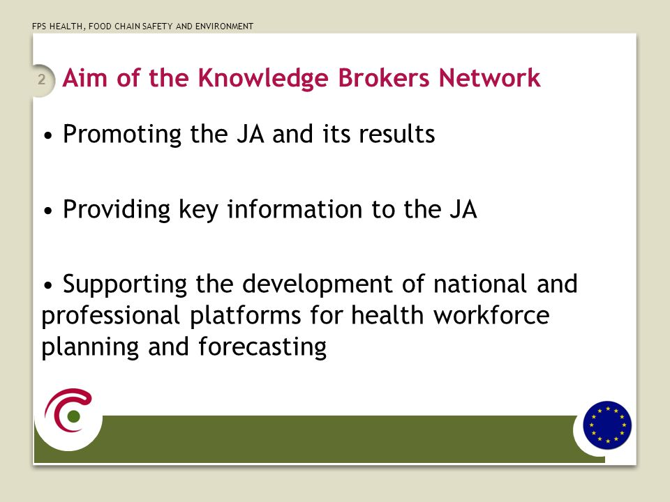FPS HEALTH, FOOD CHAIN SAFETY AND ENVIRONMENT Aim of the Knowledge Brokers Network Promoting the JA and its results Providing key information to the J