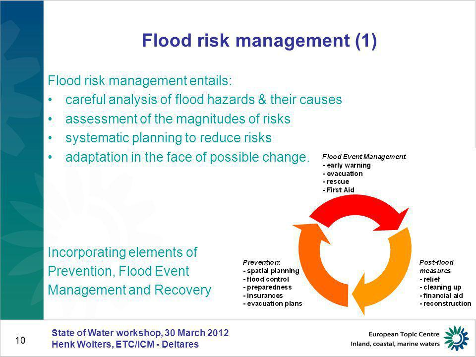 10 Flood risk management (1) Flood risk management entails: careful analysis of flood hazards & their causes assessment of the magnitudes of risks sys