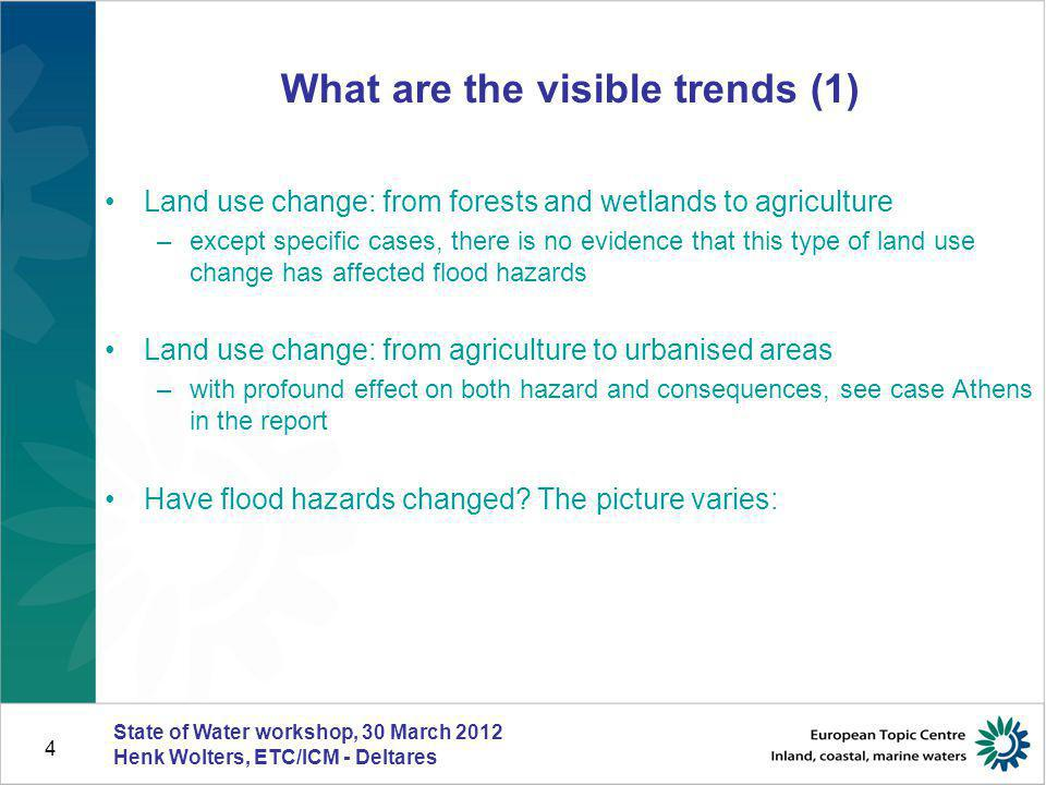 4 What are the visible trends (1) Land use change: from forests and wetlands to agriculture –except specific cases, there is no evidence that this typ