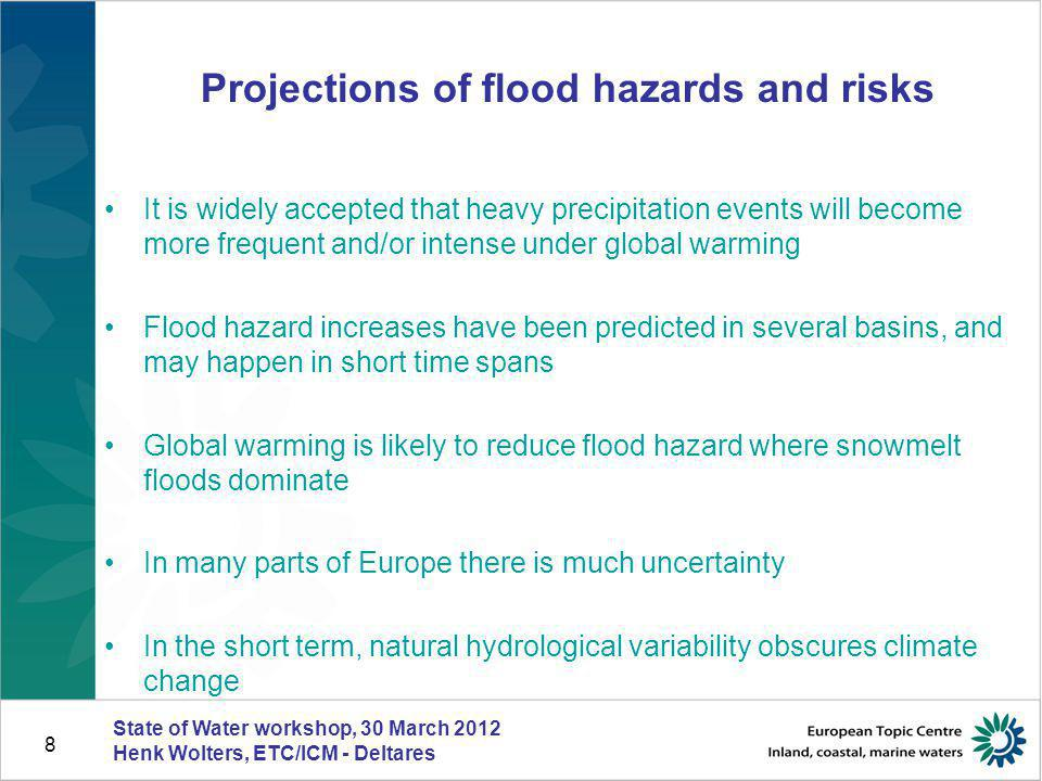 9 Projected annual flood damage Relative change in expected annual flood damage due to climate change a) 2000s b)2020s; c) 2050s; d) 2080s.