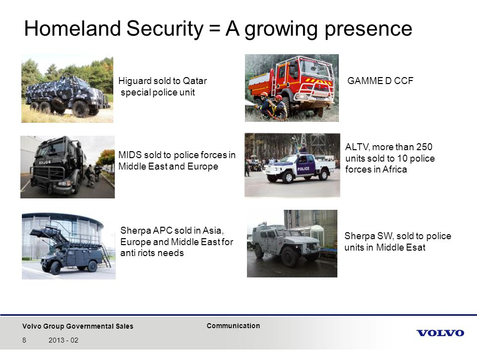 Volvo Group Governmental Sales Communication 92013 - 02 Through-life support services Everywhere in the world, thanks to Volvo Group organization, VGGS is able to support its customers with more than 1500 points of contact and 40000 spare parts on line.