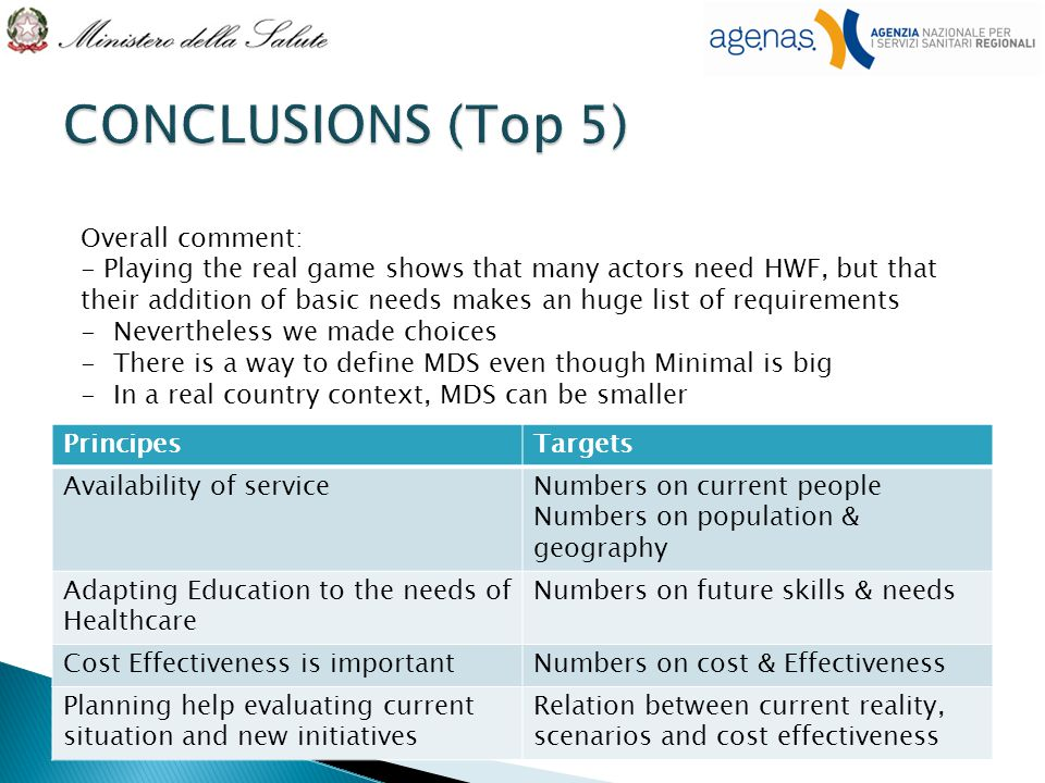 PrincipesTargets Availability of serviceNumbers on current people Numbers on population & geography Adapting Education to the needs of Healthcare Numbers on future skills & needs Cost Effectiveness is importantNumbers on cost & Effectiveness Planning help evaluating current situation and new initiatives Relation between current reality, scenarios and cost effectiveness Overall comment: - Playing the real game shows that many actors need HWF, but that their addition of basic needs makes an huge list of requirements -Nevertheless we made choices -There is a way to define MDS even though Minimal is big -In a real country context, MDS can be smaller