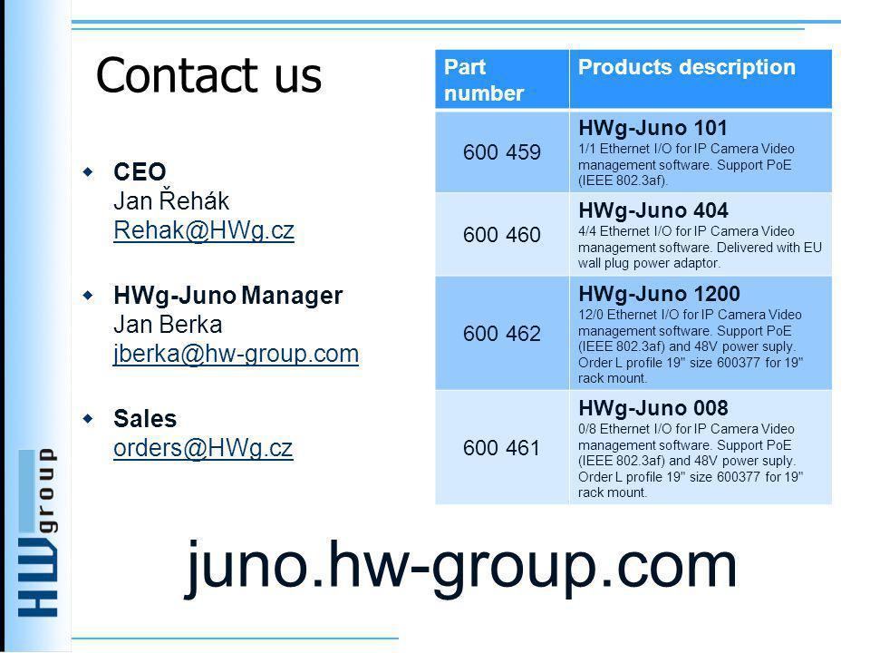Contact us  CEO Jan Řehák Rehak@HWg.cz Rehak@HWg.cz  HWg-Juno Manager Jan Berka jberka@hw-group.com jberka@hw-group.com  Sales orders@HWg.cz orders