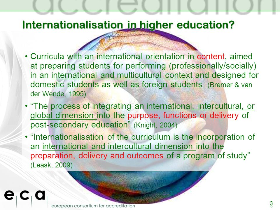 Internationalisation in higher education.