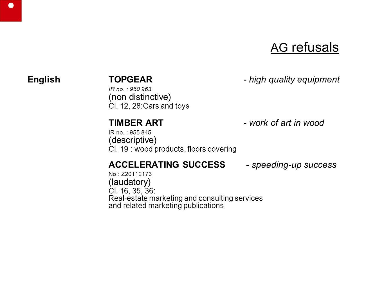 AG refusals English TOPGEAR - high quality equipment IR no.