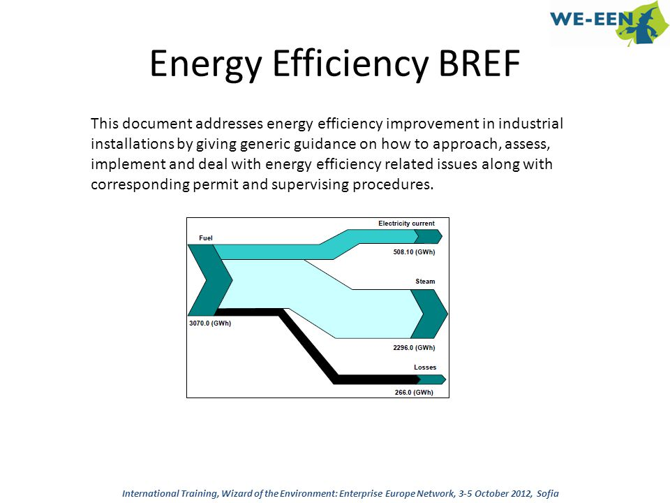 Energy Efficiency BREF This document addresses energy efficiency improvement in industrial installations by giving generic guidance on how to approach