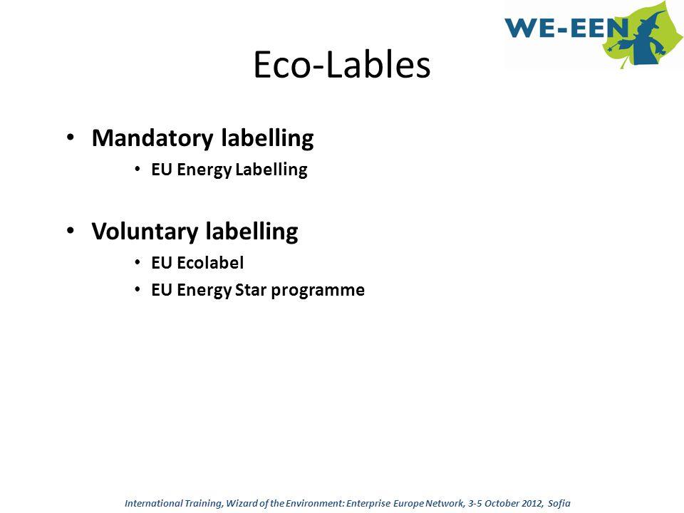 Eco-Lables Mandatory labelling EU Energy Labelling Voluntary labelling EU Ecolabel EU Energy Star programme International Training, Wizard of the Envi
