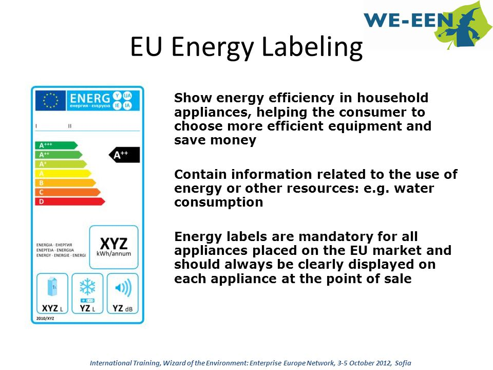 EU Energy Labeling Show energy efficiency in household appliances, helping the consumer to choose more efficient equipment and save money Contain info