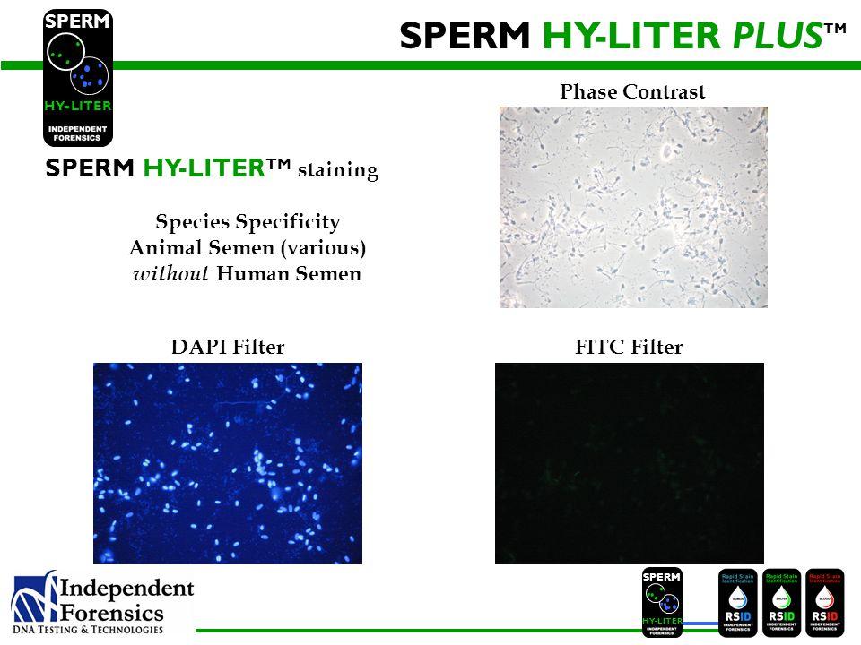 SPERM HYLITER SPERM HY-LITER TM SPERM HY LITER - SPERM HY-LITER TM staining Species Specificity Animal Semen (various) with Human Semen Phase Contrast DAPI Filter FITC Filter