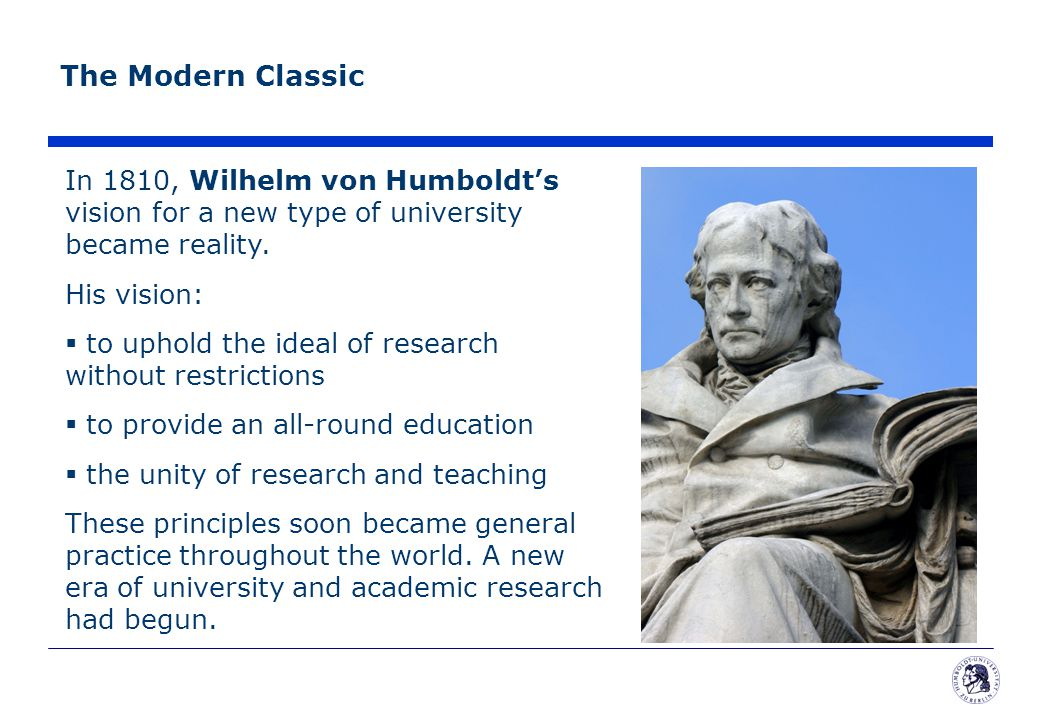The Modern Classic In 1810, Wilhelm von Humboldt's vision for a new type of university became reality.