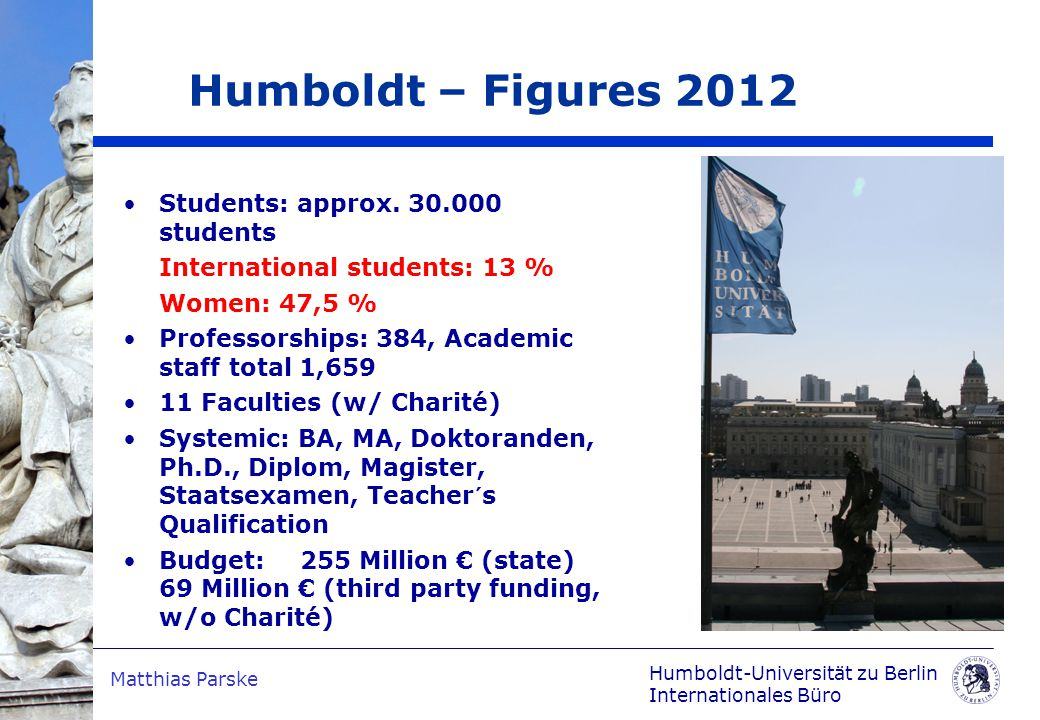 Humboldt-Universität zu Berlin Internationales Büro Matthias Parske Students: approx.