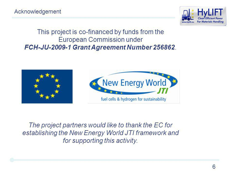 6 The project partners would like to thank the EC for establishing the New Energy World JTI framework and for supporting this activity.