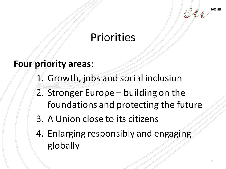 Priorities Four priority areas: 1.Growth, jobs and social inclusion 2.Stronger Europe – building on the foundations and protecting the future 3.A Unio