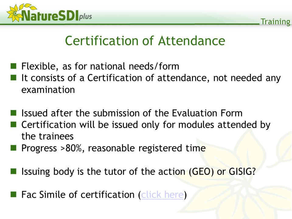 Training Certification of Attendance Flexible, as for national needs/form It consists of a Certification of attendance, not needed any examination Issued after the submission of the Evaluation Form Certification will be issued only for modules attended by the trainees Progress >80%, reasonable registered time Issuing body is the tutor of the action (GEO) or GISIG.