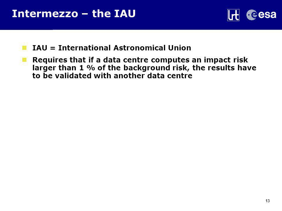 Intermezzo – the IAU IAU = International Astronomical Union Requires that if a data centre computes an impact risk larger than 1 % of the background risk, the results have to be validated with another data centre 13