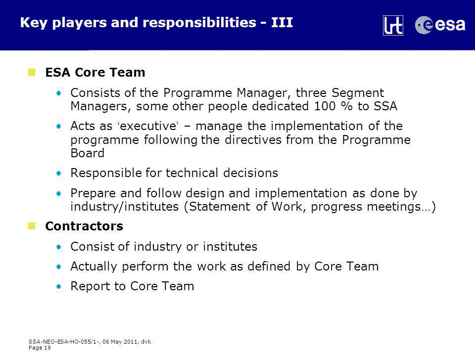SSA-NEO-ESA-HO-055/1-, 06 May 2011, dvk Page 19 Key players and responsibilities - III ESA Core Team Consists of the Programme Manager, three Segment Managers, some other people dedicated 100 % to SSA Acts as 'executive' – manage the implementation of the programme following the directives from the Programme Board Responsible for technical decisions Prepare and follow design and implementation as done by industry/institutes (Statement of Work, progress meetings…) Contractors Consist of industry or institutes Actually perform the work as defined by Core Team Report to Core Team