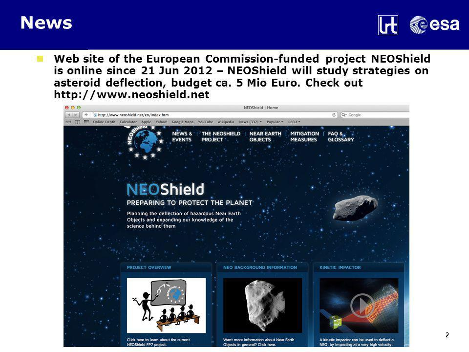 News Web site of the European Commission-funded project NEOShield is online since 21 Jun 2012 – NEOShield will study strategies on asteroid deflection, budget ca.