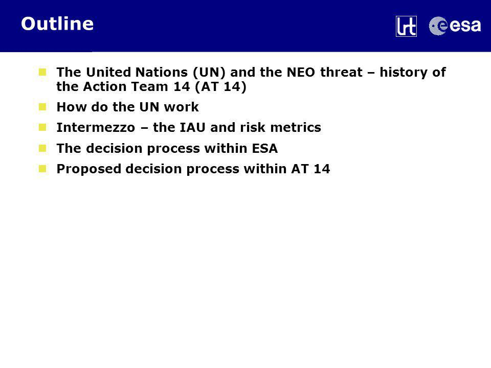 Outline The United Nations (UN) and the NEO threat – history of the Action Team 14 (AT 14) How do the UN work Intermezzo – the IAU and risk metrics The decision process within ESA Proposed decision process within AT 14