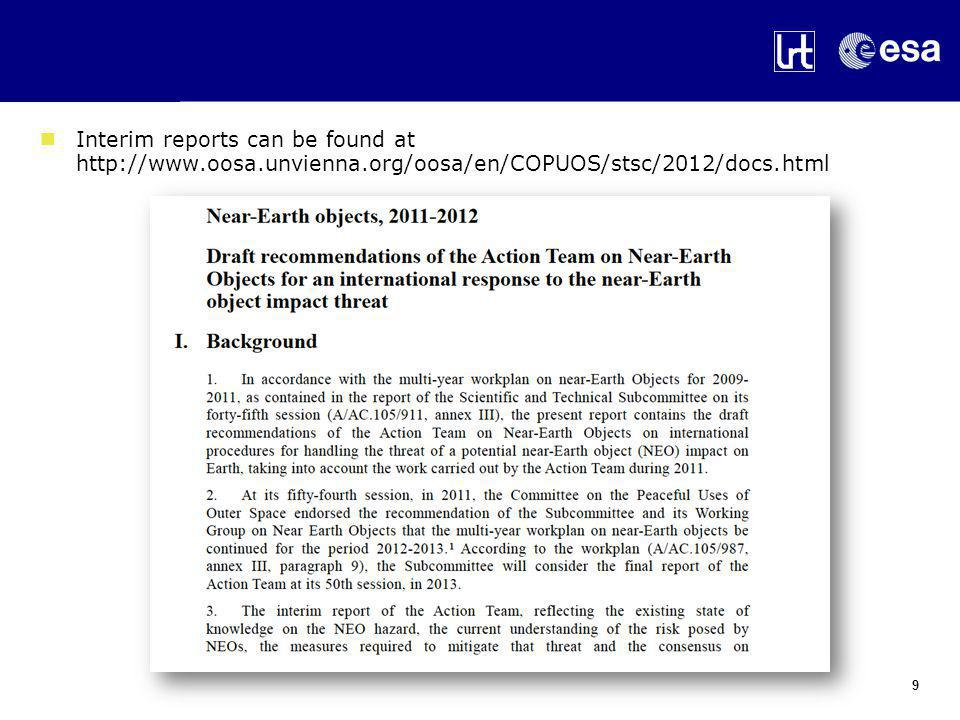 Interim reports can be found at http://www.oosa.unvienna.org/oosa/en/COPUOS/stsc/2012/docs.html 9