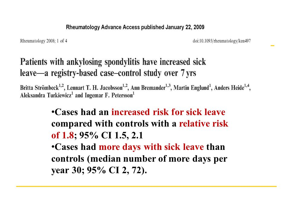 Cases had an increased risk for sick leave compared with controls with a relative risk of 1.8; 95% CI 1.5, 2.1 Cases had more days with sick leave than controls (median number of more days per year 30; 95% CI 2, 72).