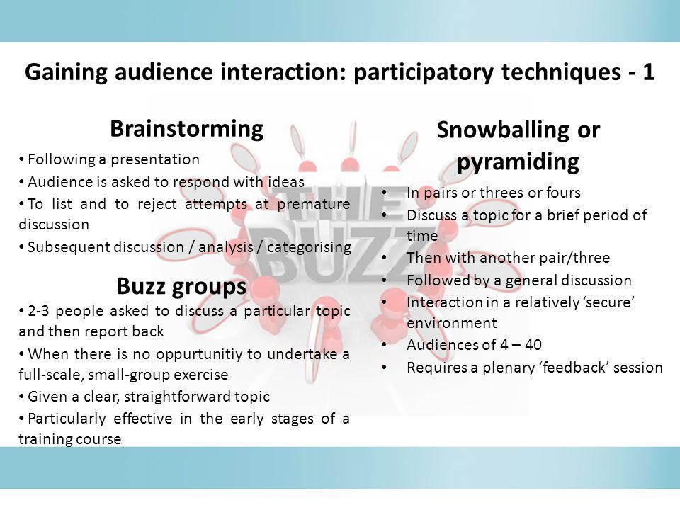 Brainstorming Following a presentation Audience is asked to respond with ideas To list and to reject attempts at premature discussion Subsequent discu