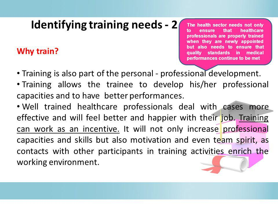 Why train.The training process has to start with a clear definition of needs of the trainees.
