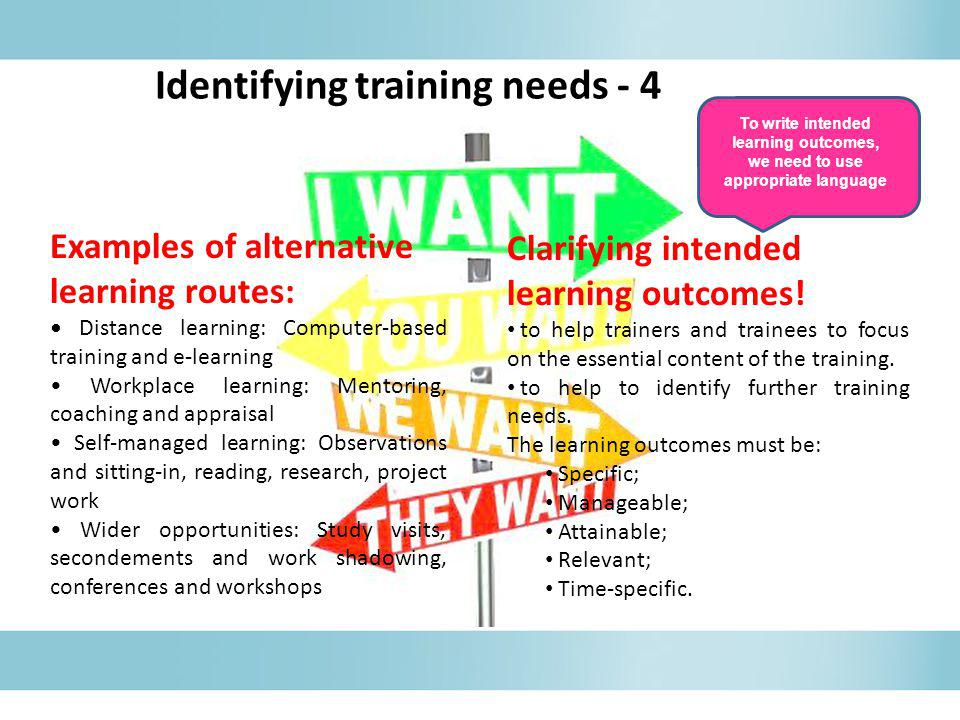 Clarifying intended learning outcomes! to help trainers and trainees to focus on the essential content of the training. to help to identify further tr