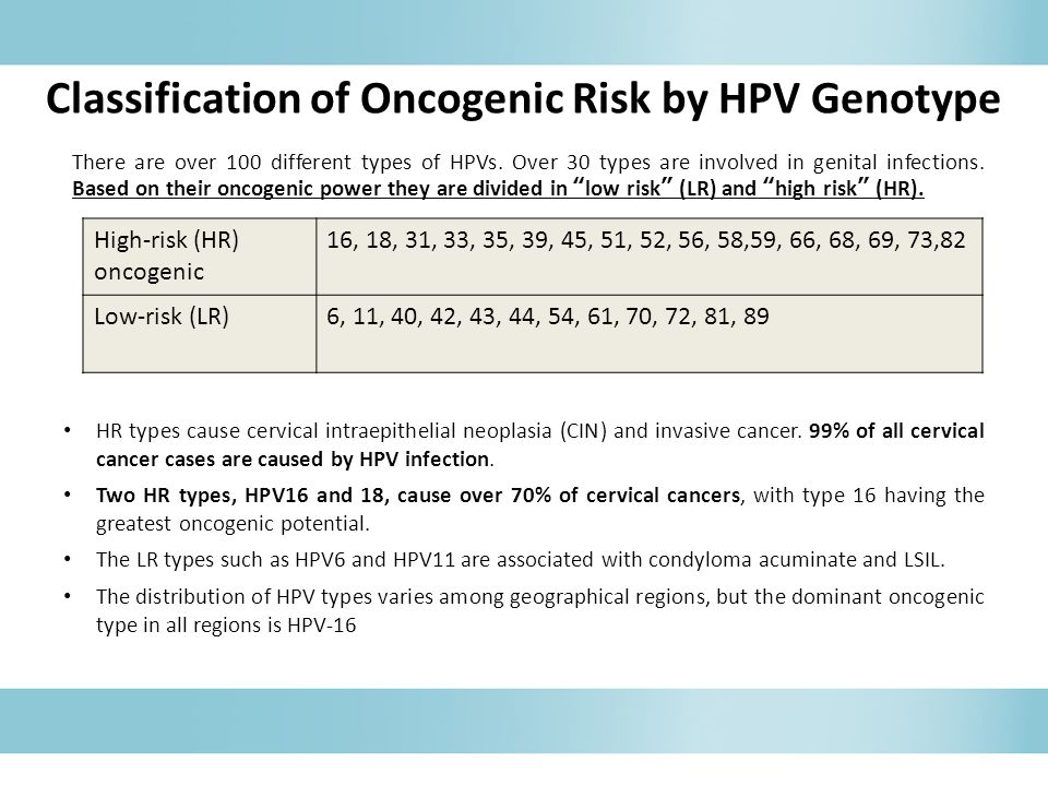 Classification of Oncogenic Risk by HPV Genotype HR types cause cervical intraepithelial neoplasia (CIN) and invasive cancer.