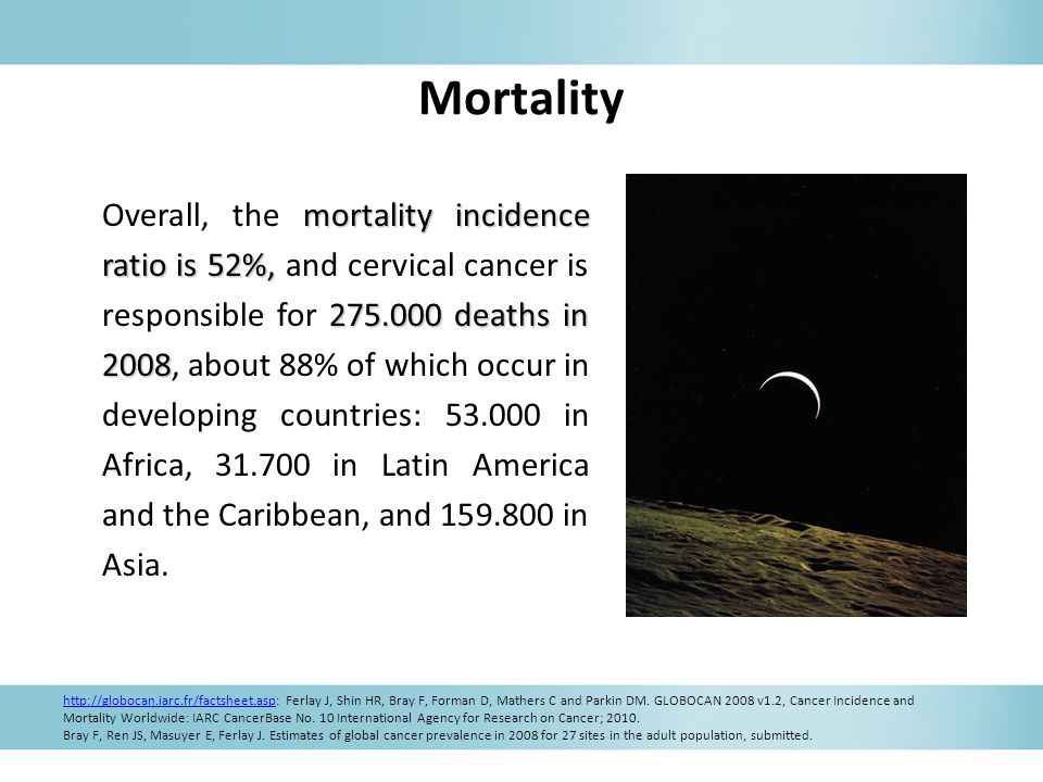 Mortality mortality incidence ratio is 52%, 275.000 deaths in 2008 Overall, the mortality incidence ratio is 52%, and cervical cancer is responsible for 275.000 deaths in 2008, about 88% of which occur in developing countries: 53.000 in Africa, 31.700 in Latin America and the Caribbean, and 159.800 in Asia.