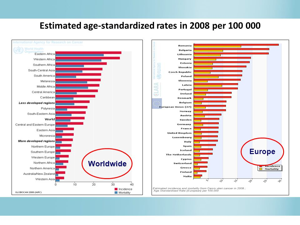 Europe Worldwide Estimated age-standardized rates in 2008 per 100 000
