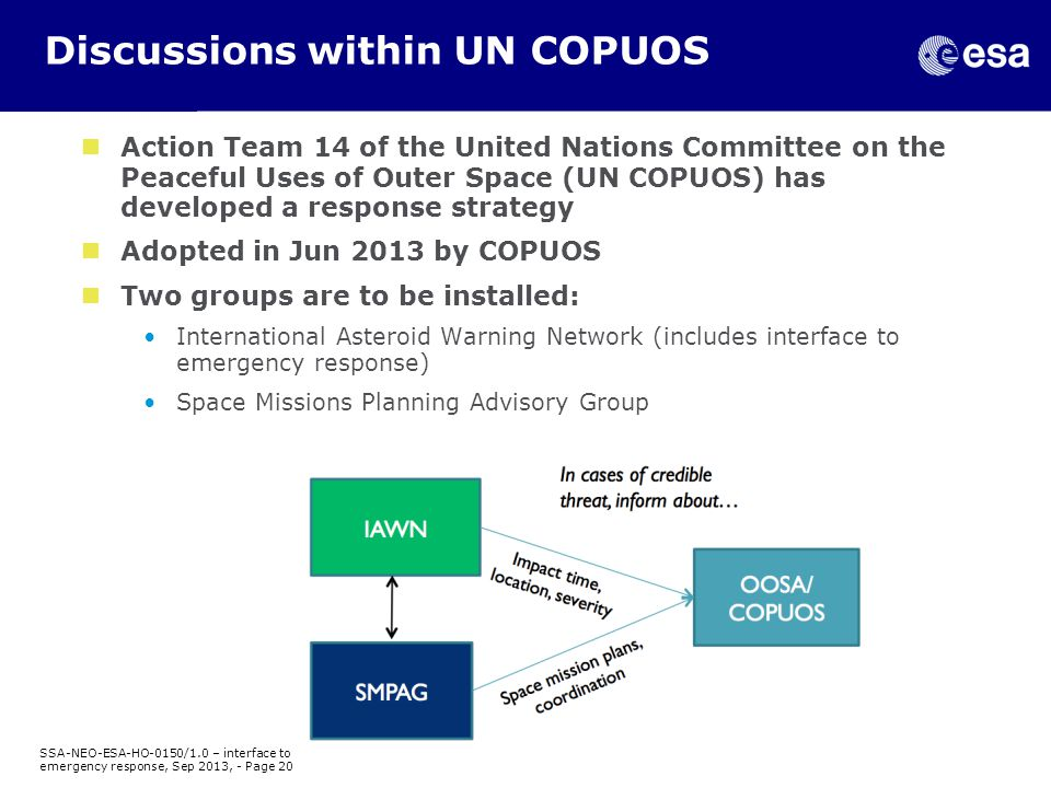 Discussions within UN COPUOS Action Team 14 of the United Nations Committee on the Peaceful Uses of Outer Space (UN COPUOS) has developed a response strategy Adopted in Jun 2013 by COPUOS Two groups are to be installed: International Asteroid Warning Network (includes interface to emergency response) Space Missions Planning Advisory Group SSA-NEO-ESA-HO-0150/1.0 – interface to emergency response, Sep 2013, - Page 20