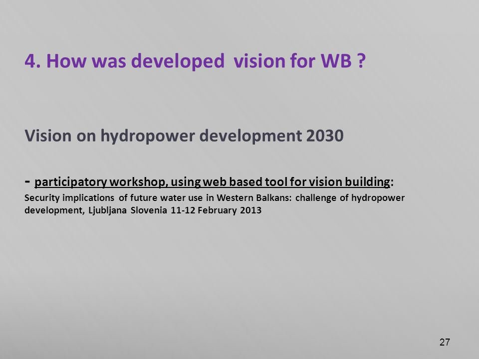 4. How was developed vision for WB .