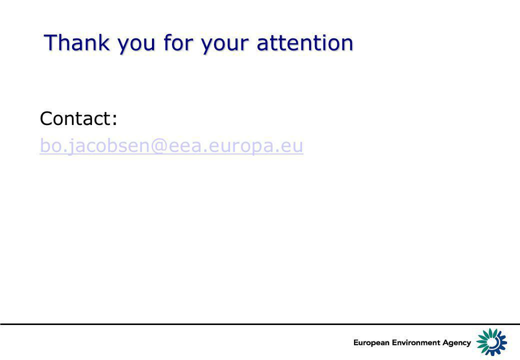 Thank you for your attention Contact: bo.jacobsen@eea.europa.eu