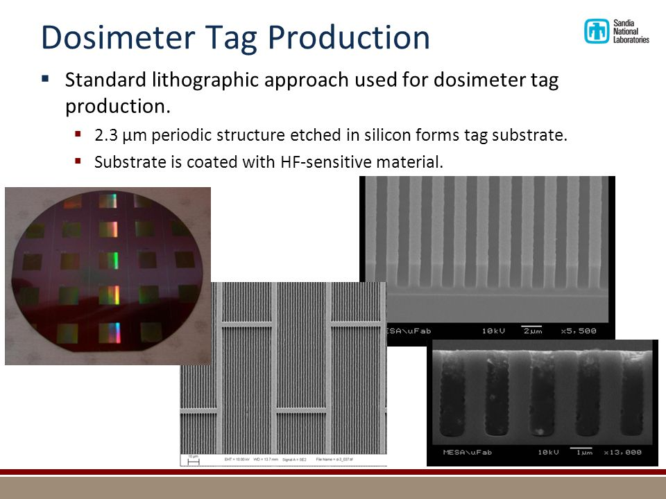 Dosimeter Tag Production  Standard lithographic approach used for dosimeter tag production.  2.3 µm periodic structure etched in silicon forms tag s