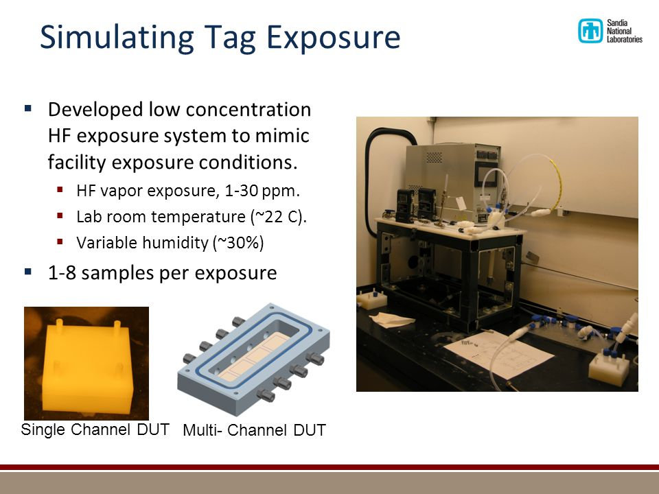 Simulating Tag Exposure  Developed low concentration HF exposure system to mimic facility exposure conditions.  HF vapor exposure, 1-30 ppm.  Lab r